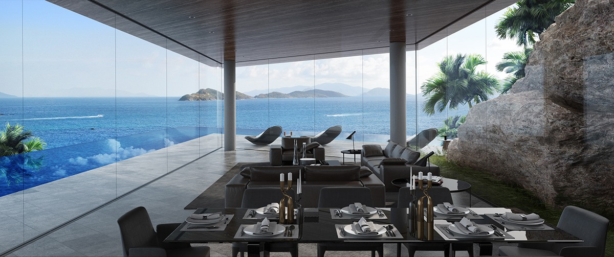 Coastal Home With Glass Walls And Rock Formations - Breathtaking luxury resort villas in bodrum turkey