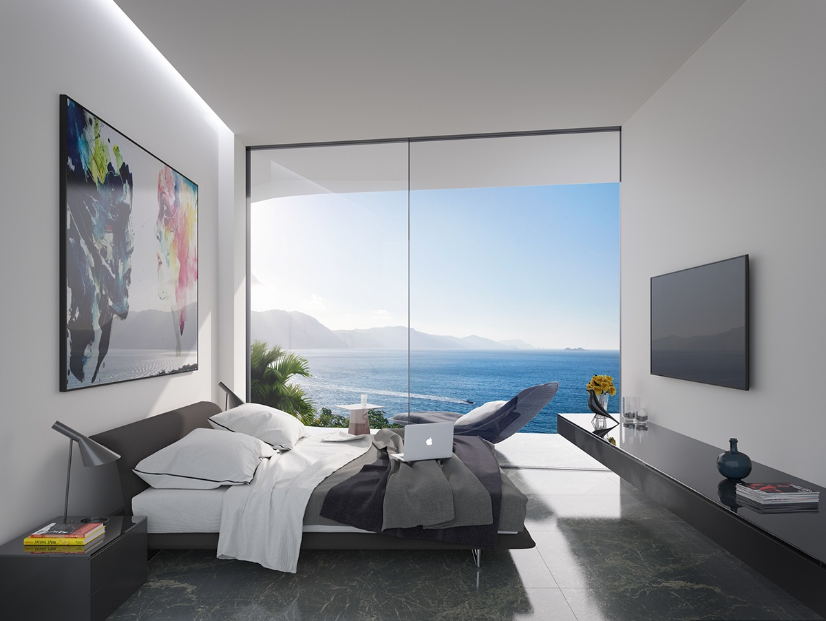 Colorful Artwork In Minimalistic Coastal Bedroom - Breathtaking luxury resort villas in bodrum turkey
