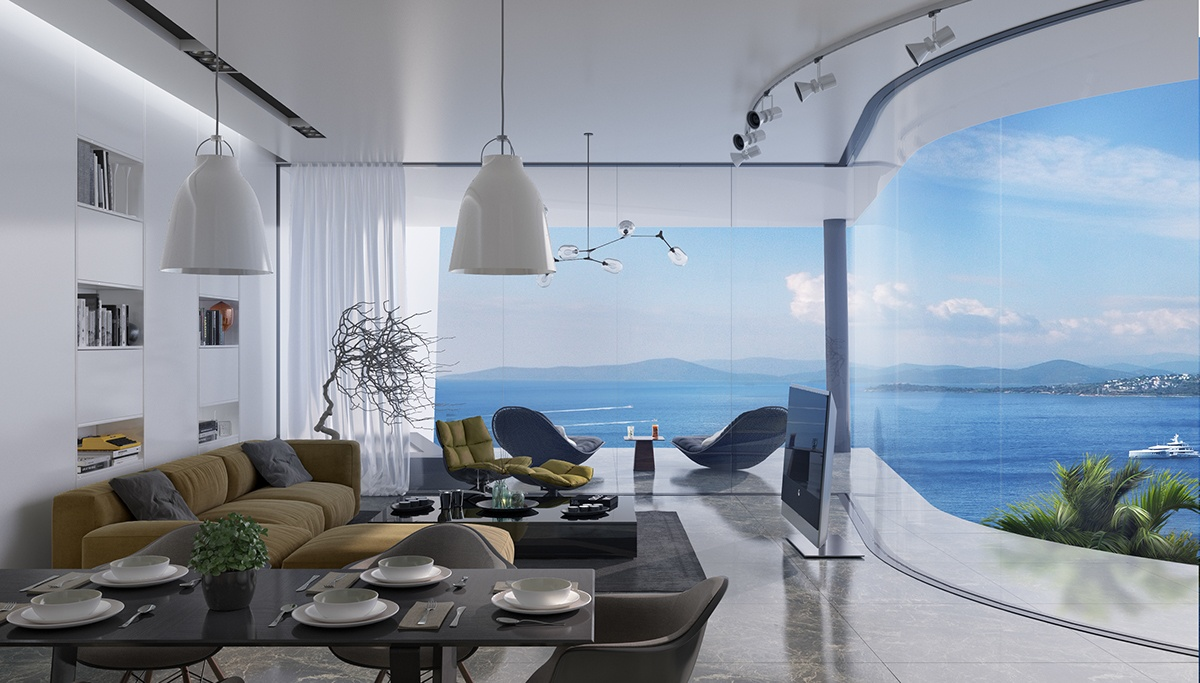 Colorful Interior With Rounded Glass Window - Breathtaking luxury resort villas in bodrum turkey