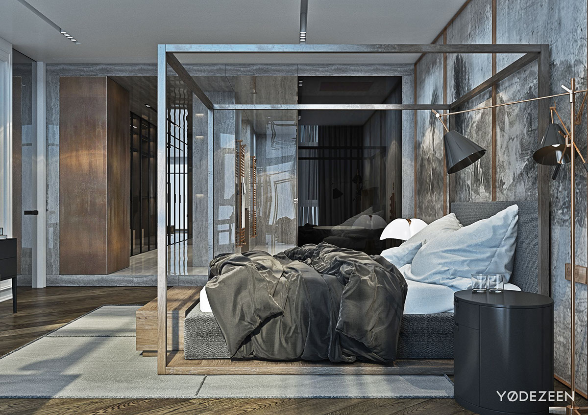 Contemporary Bedroom Bed Frame - A modern apartment with classical features