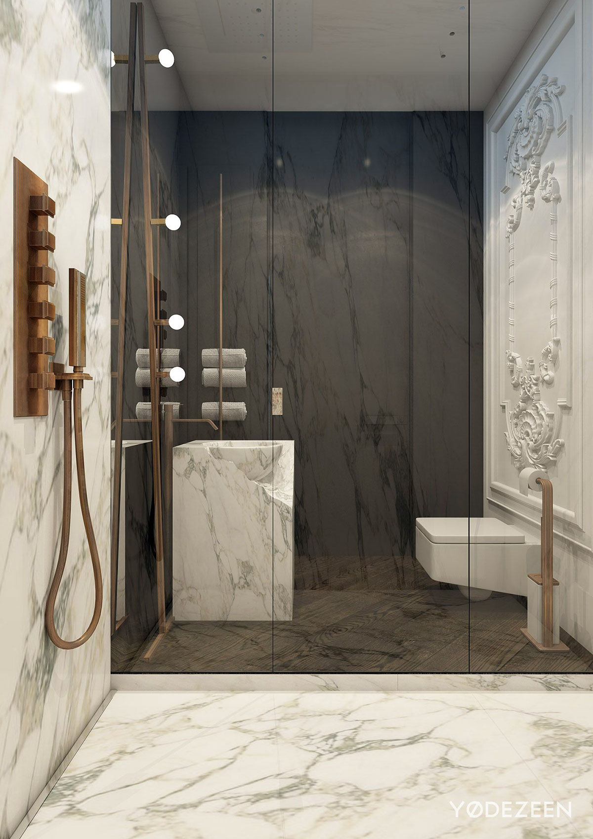 Contemporary Dark And White Marble Bathroom - A modern apartment with classical features