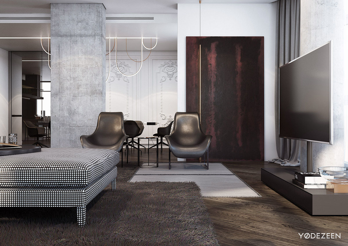 Contemporary Greyscale Interior Design - A modern apartment with classical features