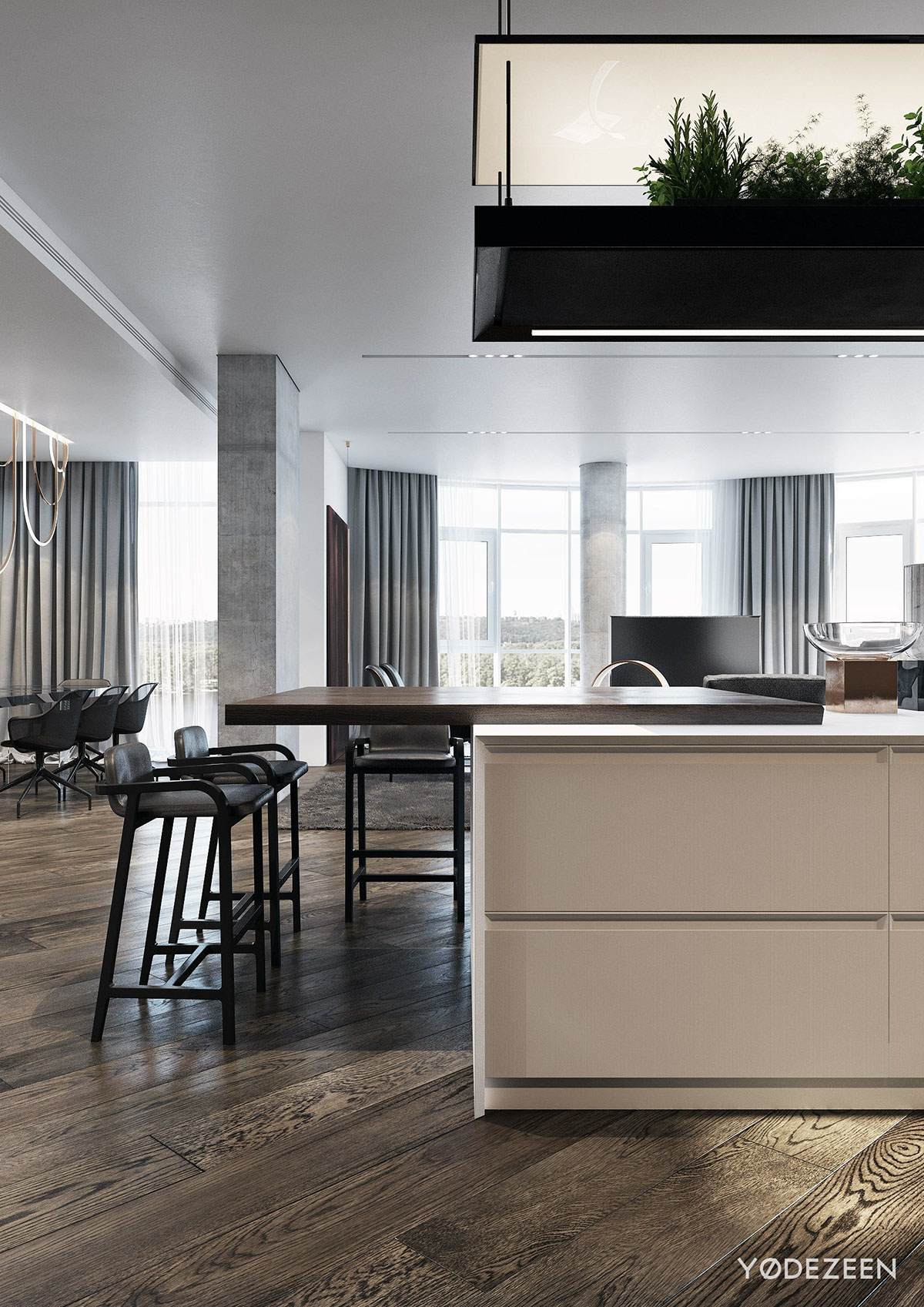 Contemporary Kitchen With View Of The Living Room - A modern apartment with classical features