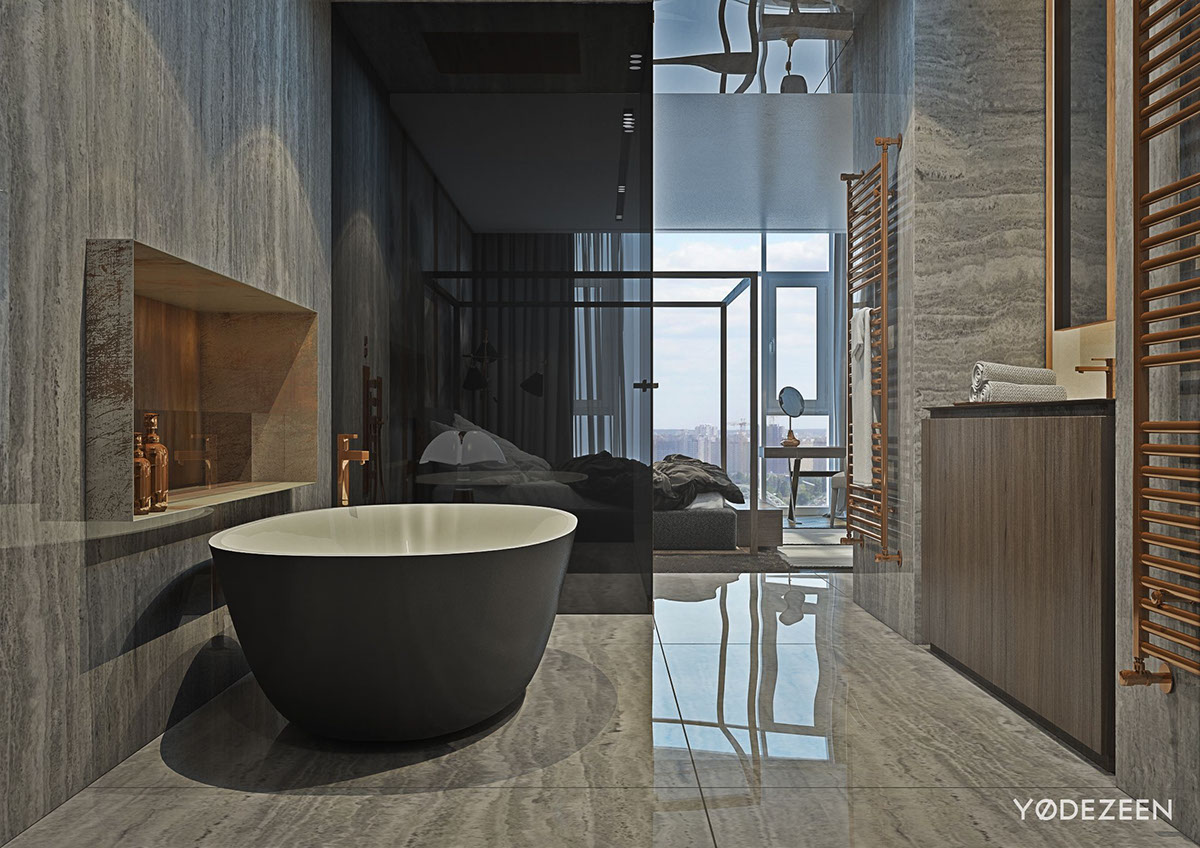 Image of modern apartment bedroom with bathroom - Image Of Modern Apartment Bedroom With Bathroom 56