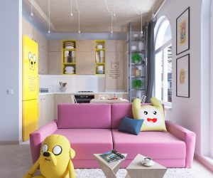 Welcome to the Land of Ooo! Adventure Time fans are sure to recognize Finn and Jake, and later, Lady Rainicorn. Its bright pink and yellow color theme energizes the room, an atmosphere guests can appreciate even if they've never watched the cartoon.