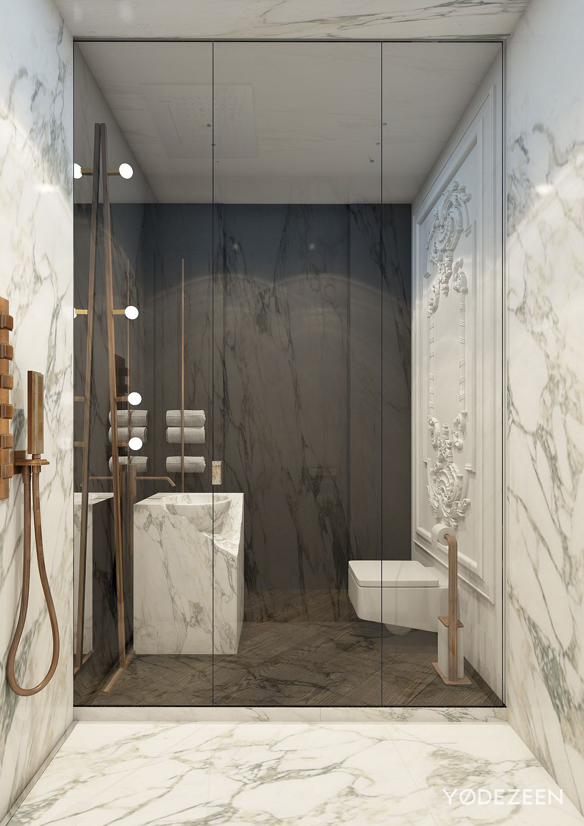 Dark And Light Bathroom Tiles - A modern apartment with classical features
