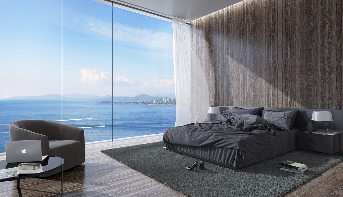 Dark Bedding In Wood Clad Bedroom - Breathtaking luxury resort villas in bodrum turkey