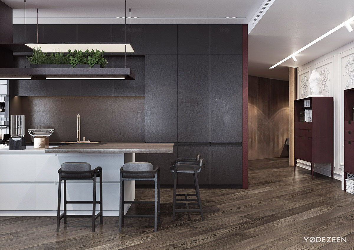 Distressed Textural Dining Room - A modern apartment with classical features