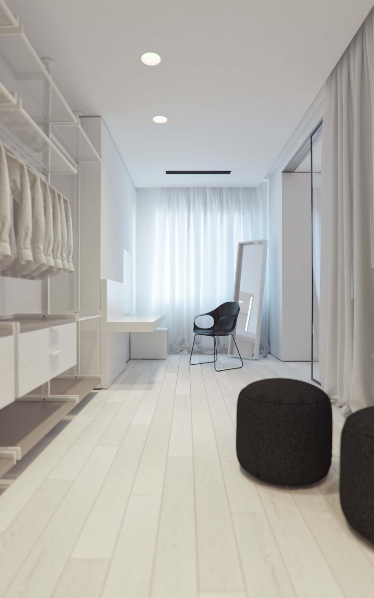 Dressig Room White - 3 white themed homes with striking modern minimalist aesthetics