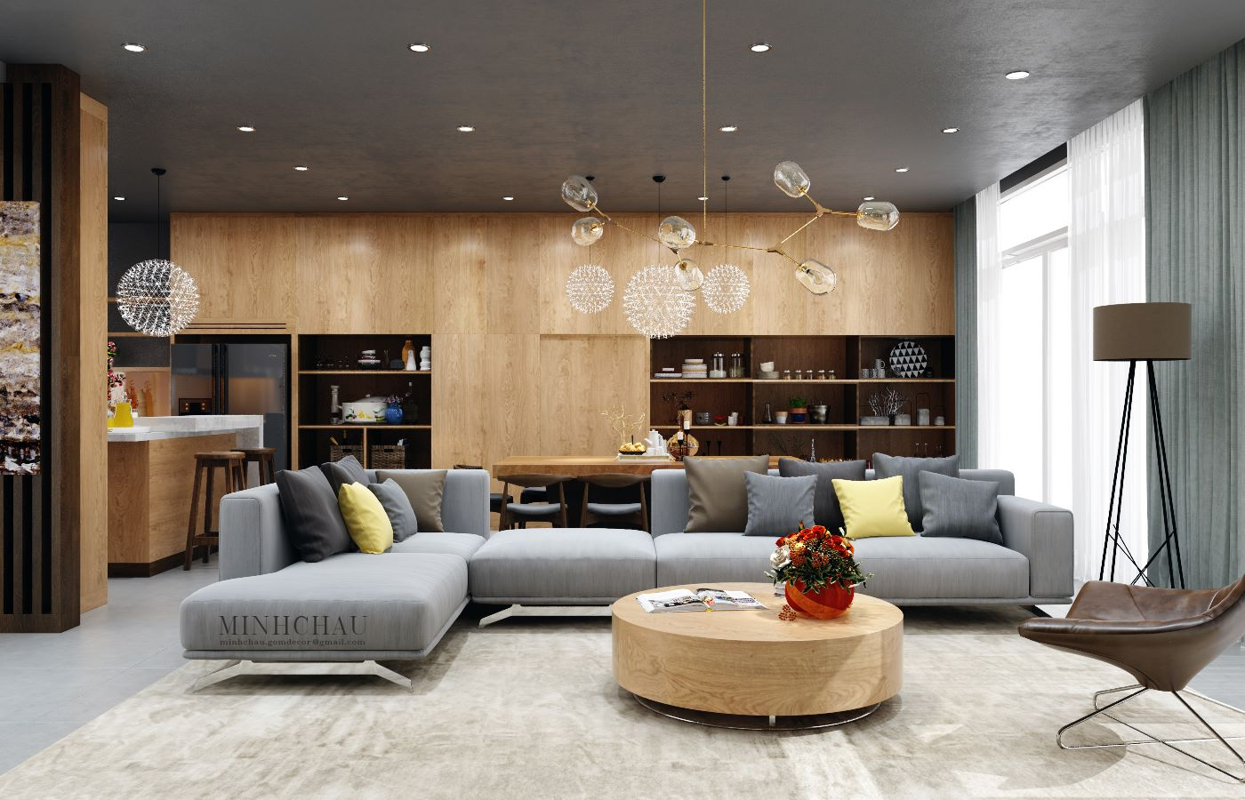 Color combo inspiration wood interiors with grey accents for Gray and wood living room