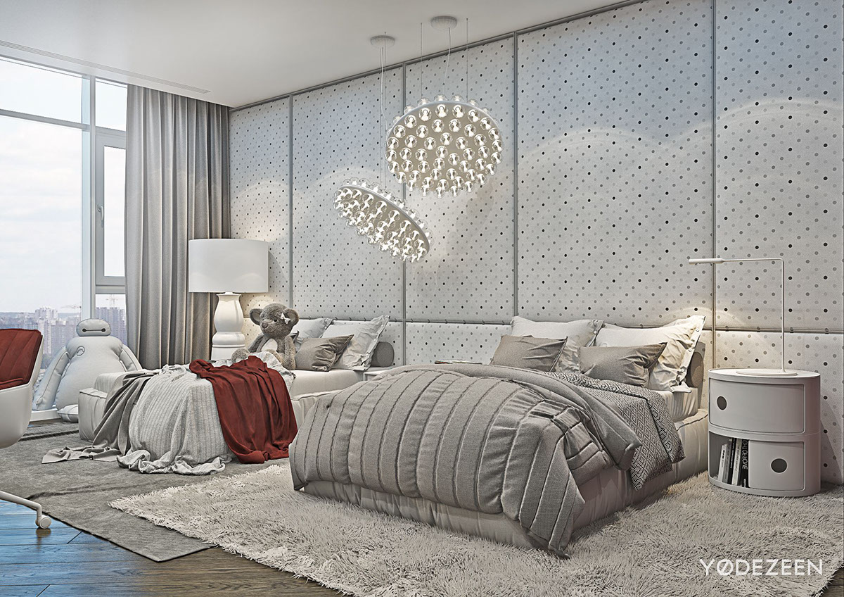 A modern apartment with classical features for Grey and neutral bedroom