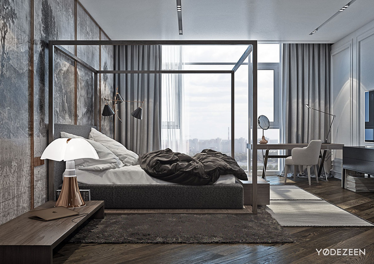 Grey And Neutral Master Bedroom Palette - A modern apartment with classical features