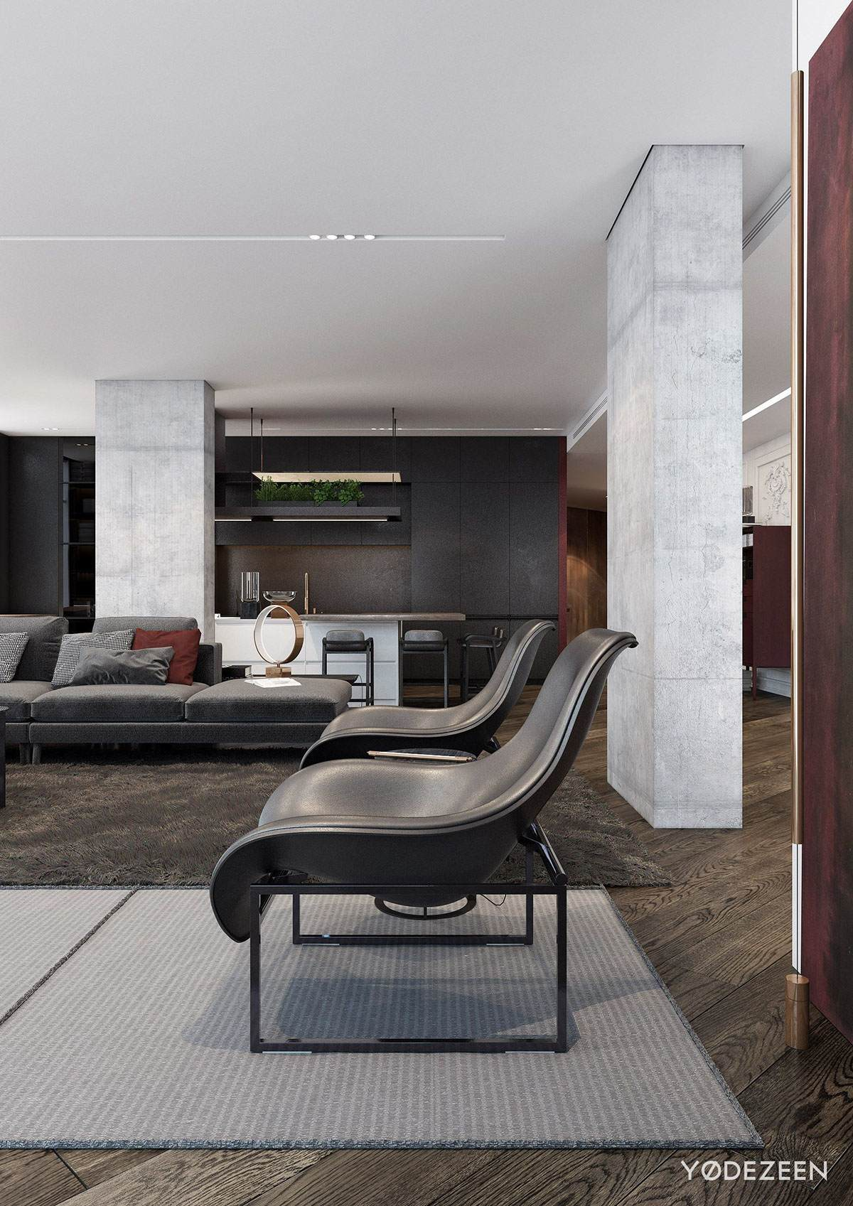 Grey And Wood Interior Design - A modern apartment with classical features