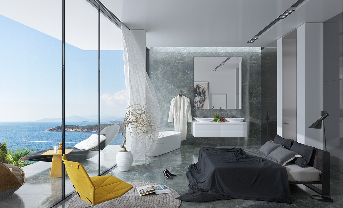 Grey Marble Walls And Floors In The Bedroom - Breathtaking luxury resort villas in bodrum turkey