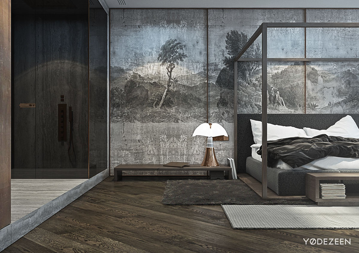 Inspiring Artistic Master Bedroom Accent Wall - A modern apartment with classical features