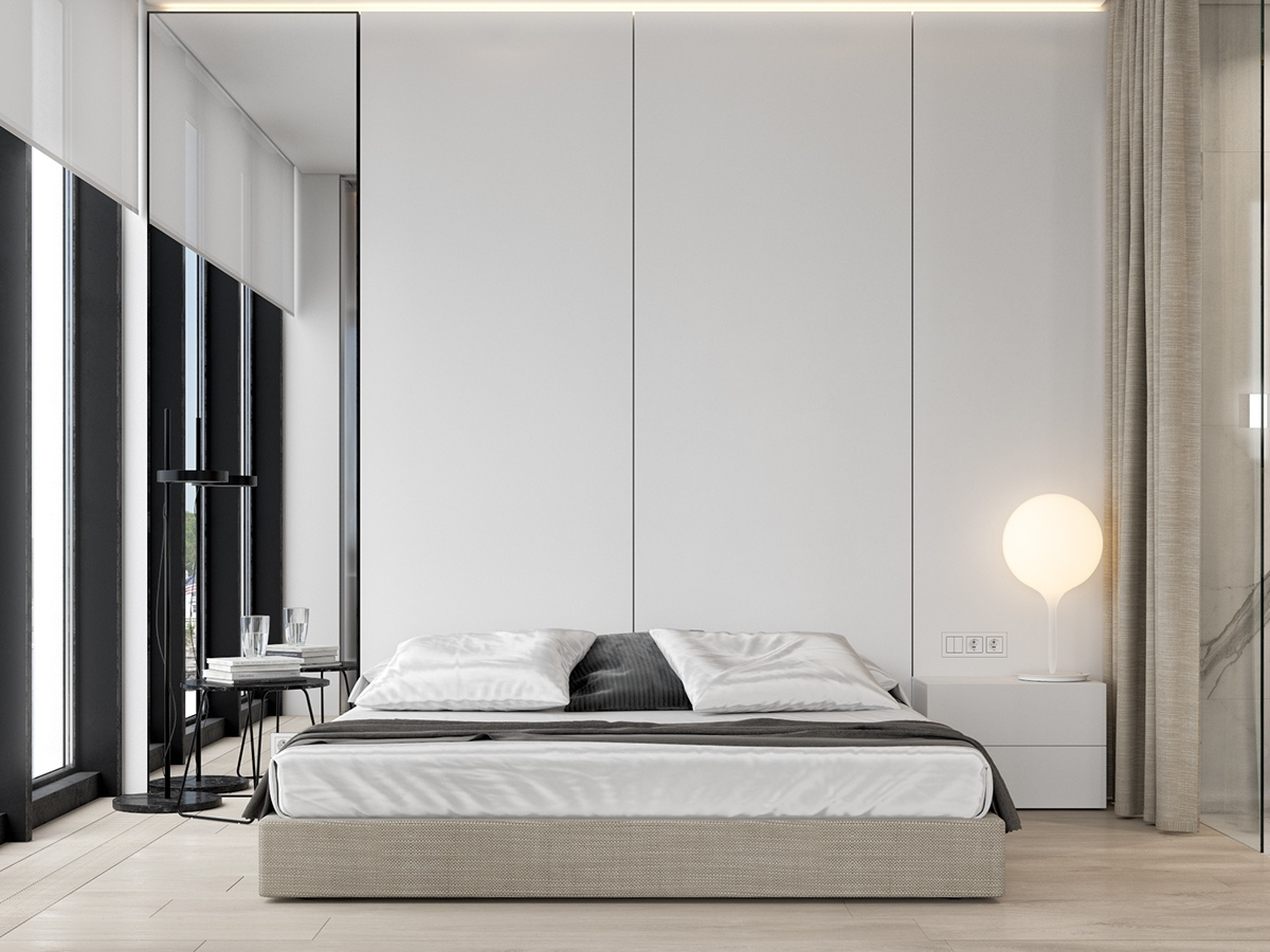 Large Bedroom White Closets Architectural Windows - 3 white themed homes with striking modern minimalist aesthetics