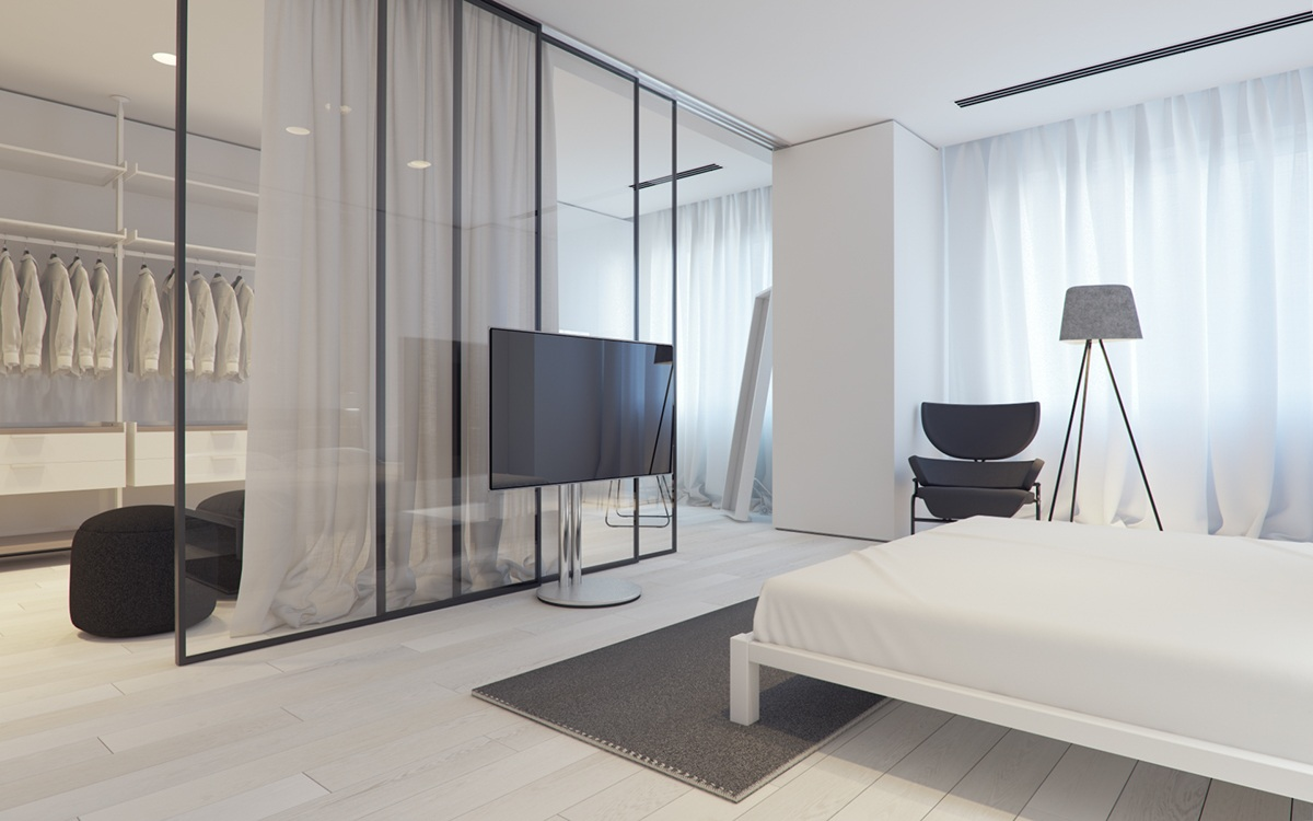 Large Walkin Closet In Bedroom - 3 white themed homes with striking modern minimalist aesthetics
