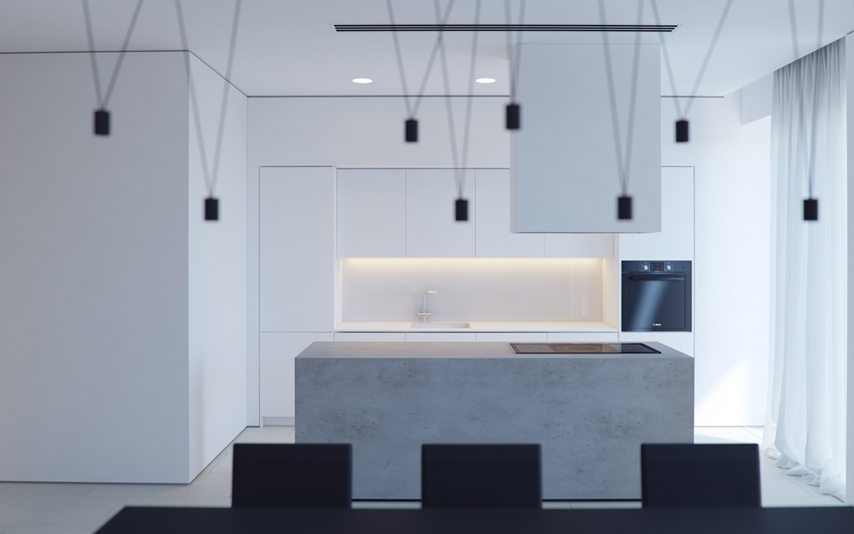 Looking Into Kitchen With Black Light - 3 white themed homes with striking modern minimalist aesthetics