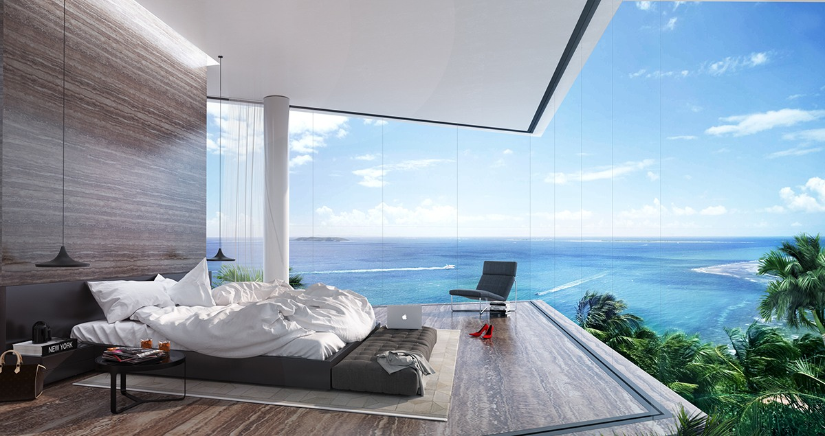 Luxury Bedroom With A Panoramic Ocean View - Breathtaking luxury resort villas in bodrum turkey