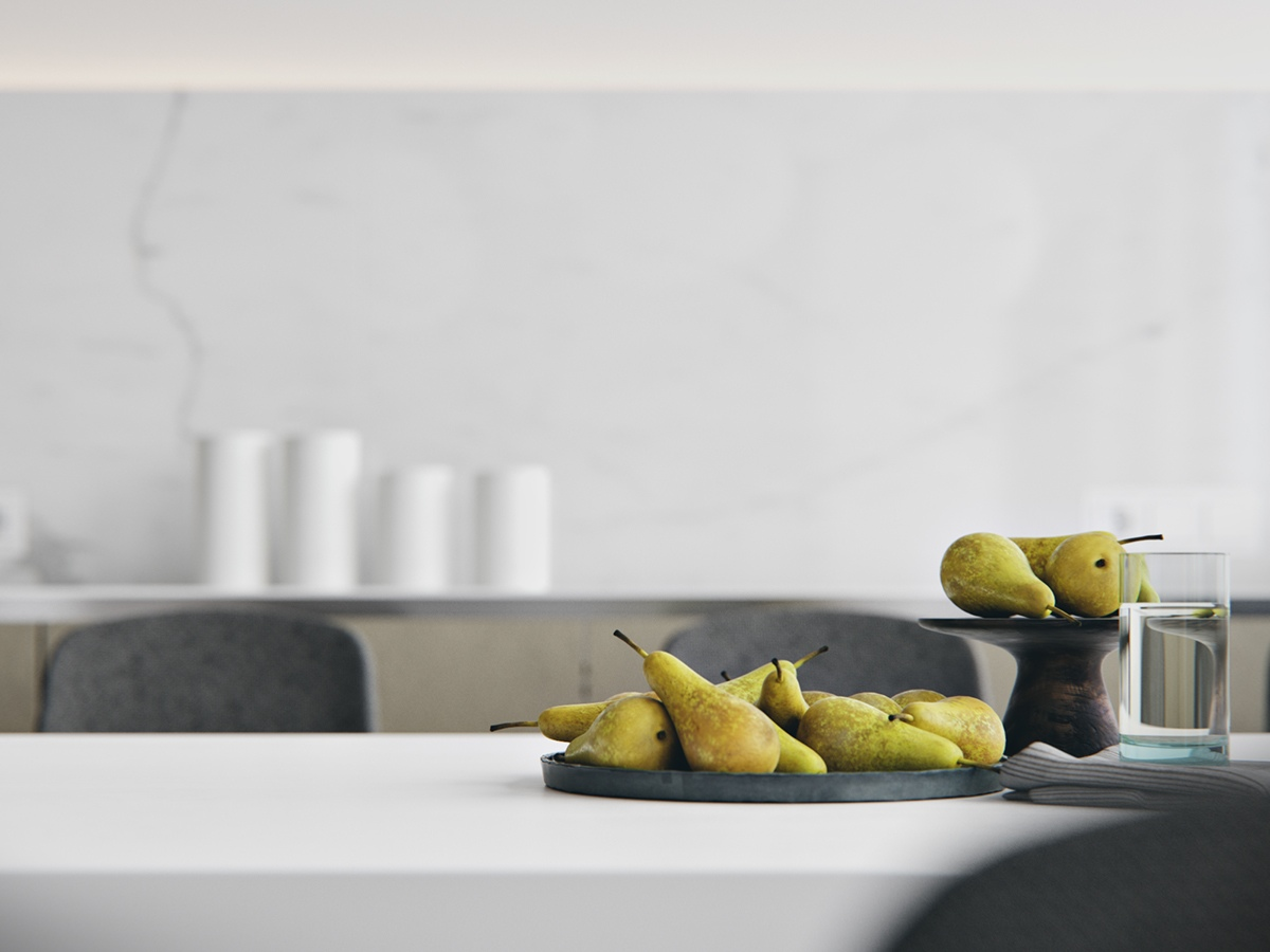 Marble Backsplash Pears On Counter - 3 white themed homes with striking modern minimalist aesthetics