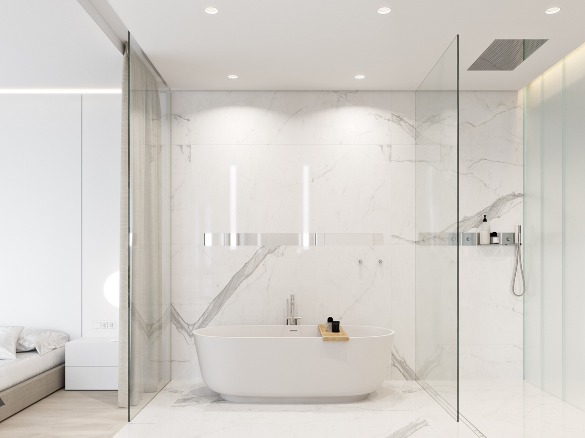 Marble Bathroom Freestanding Tub - 3 white themed homes with striking modern minimalist aesthetics
