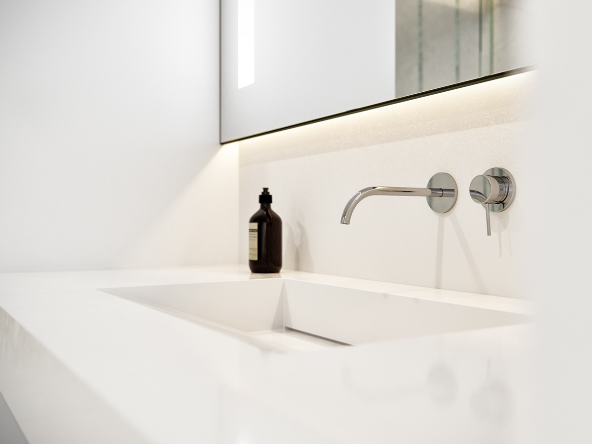 Marble Sink Stainless Faucet - 3 white themed homes with striking modern minimalist aesthetics