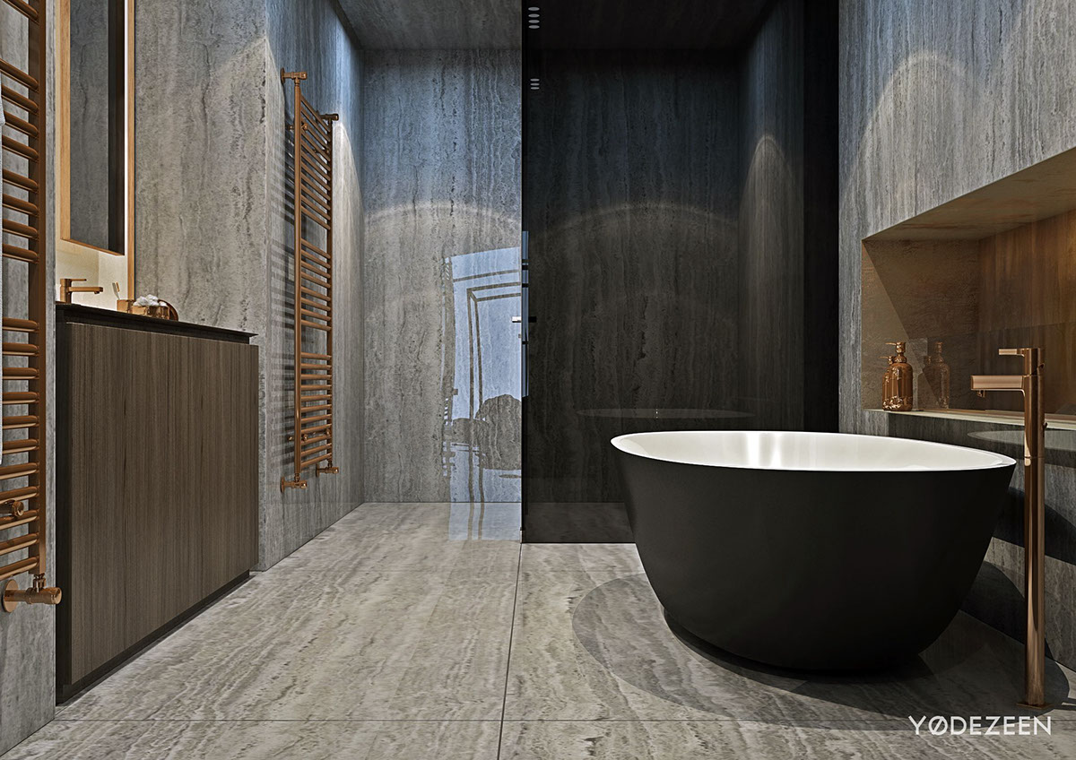 Master Bathroom With Stone Cladding - A modern apartment with classical features