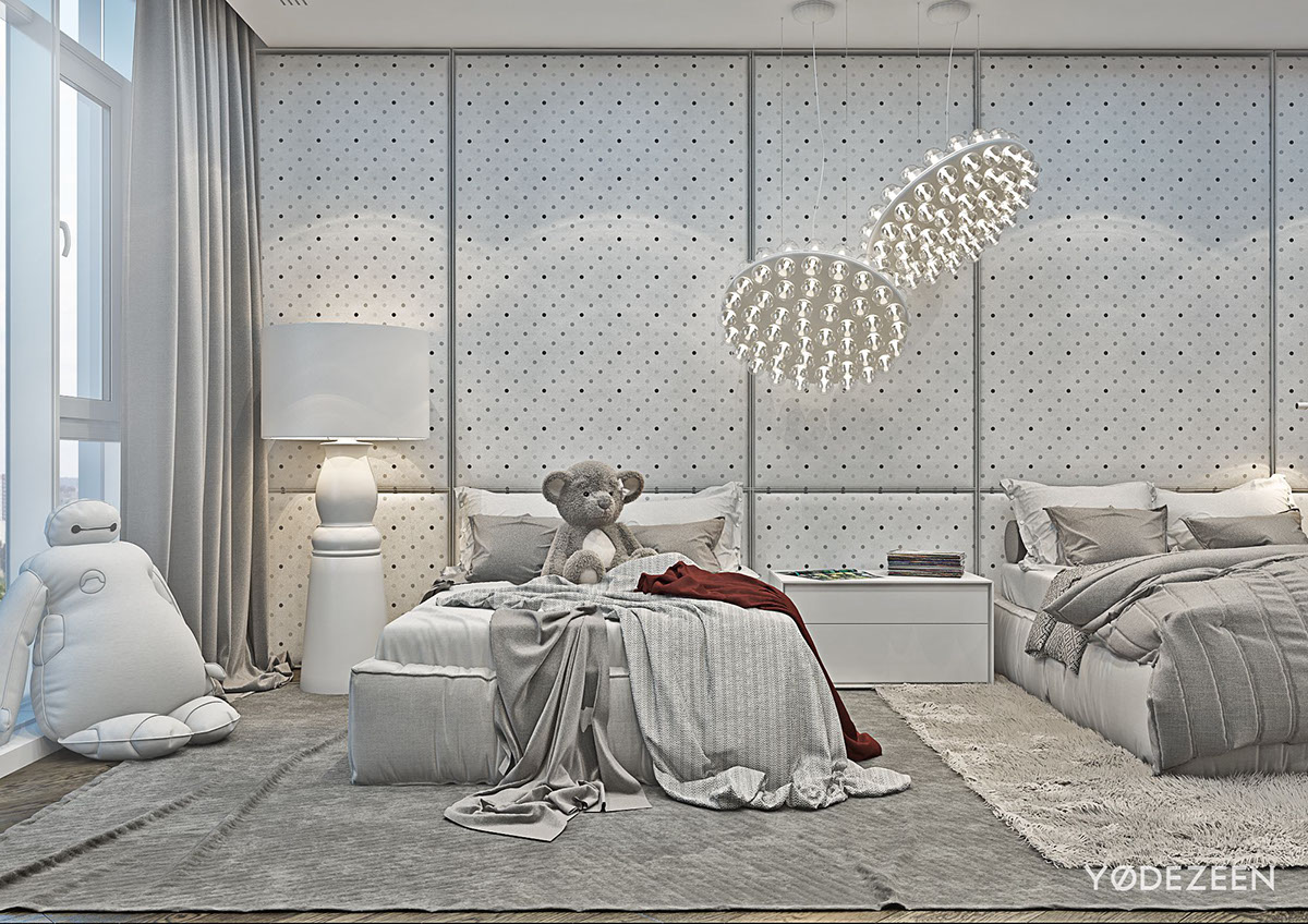 Minimalist Grey Bedroom For Kids - A modern apartment with classical features