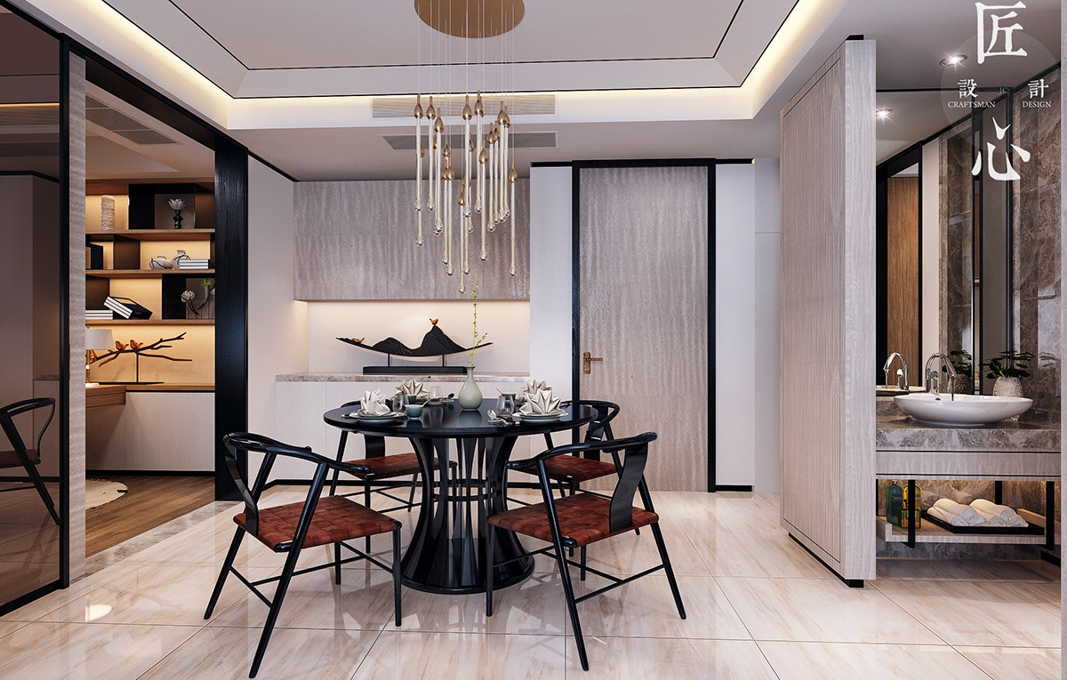 Modern Classic Dining Room Minimalist Two Modern Interiors Inspiredtraditional Chinese Decor