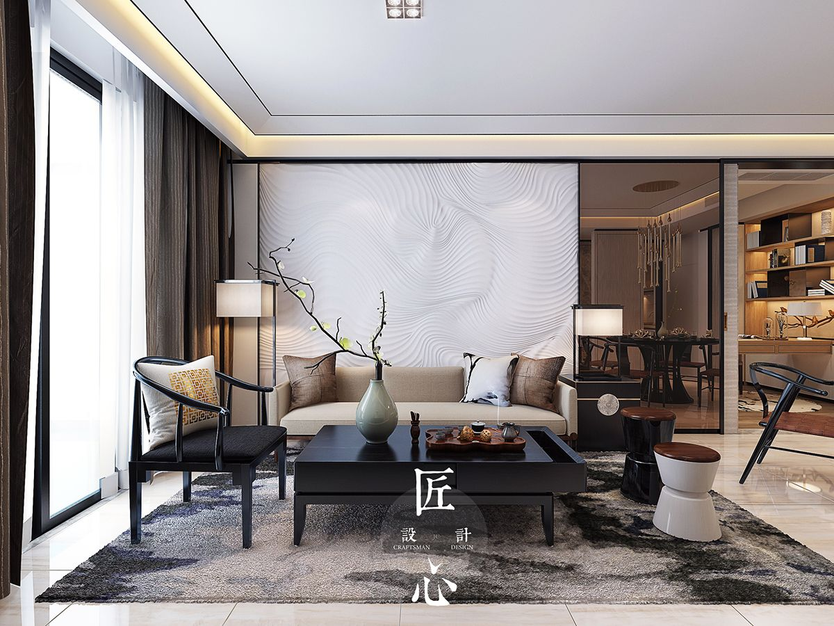 Two modern interiors inspired by traditional chinese decor for Modern home design furniture