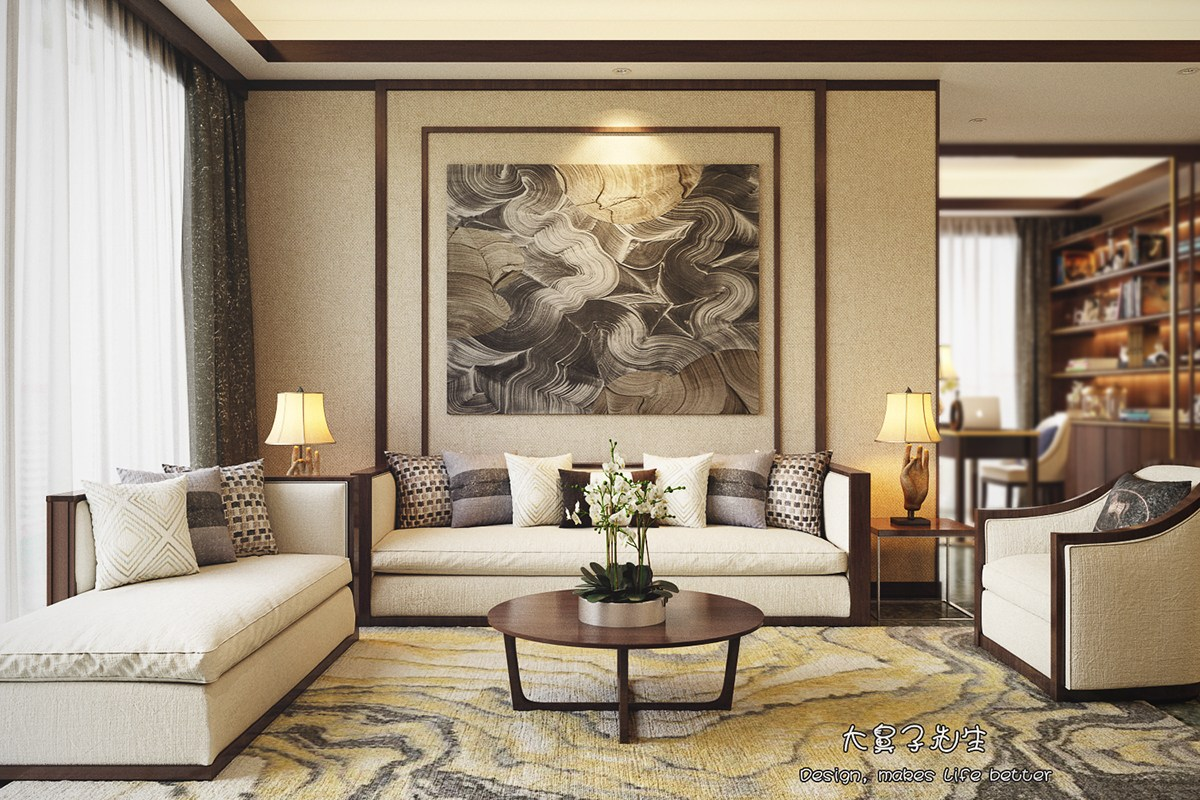 Two modern interiors inspired by traditional chinese decor for Contemporary design style