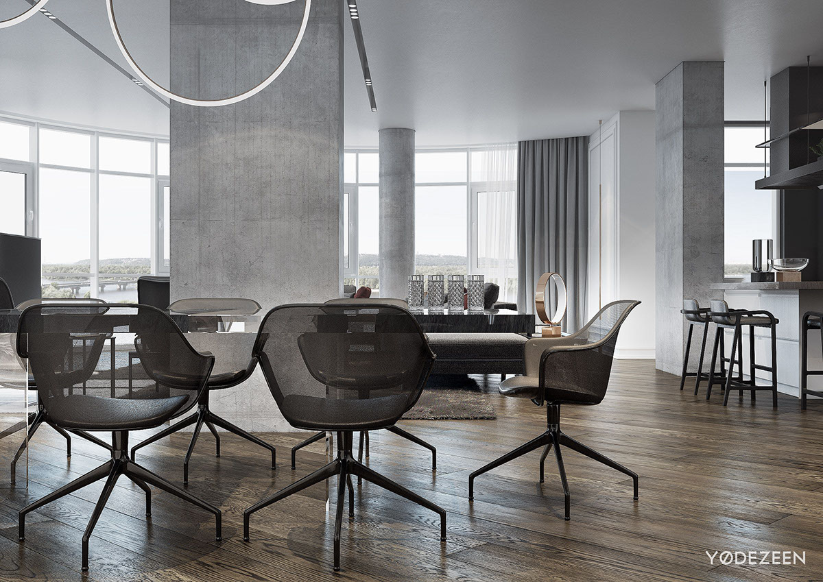 Modern Concrete And Black Dining Room Design - A modern apartment with classical features
