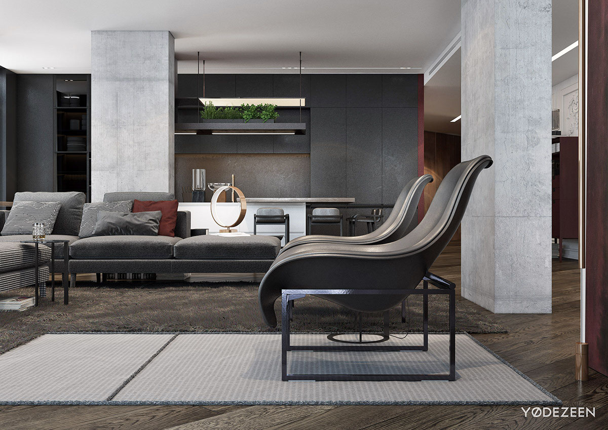 Modern Greyscale Home Design - A modern apartment with classical features