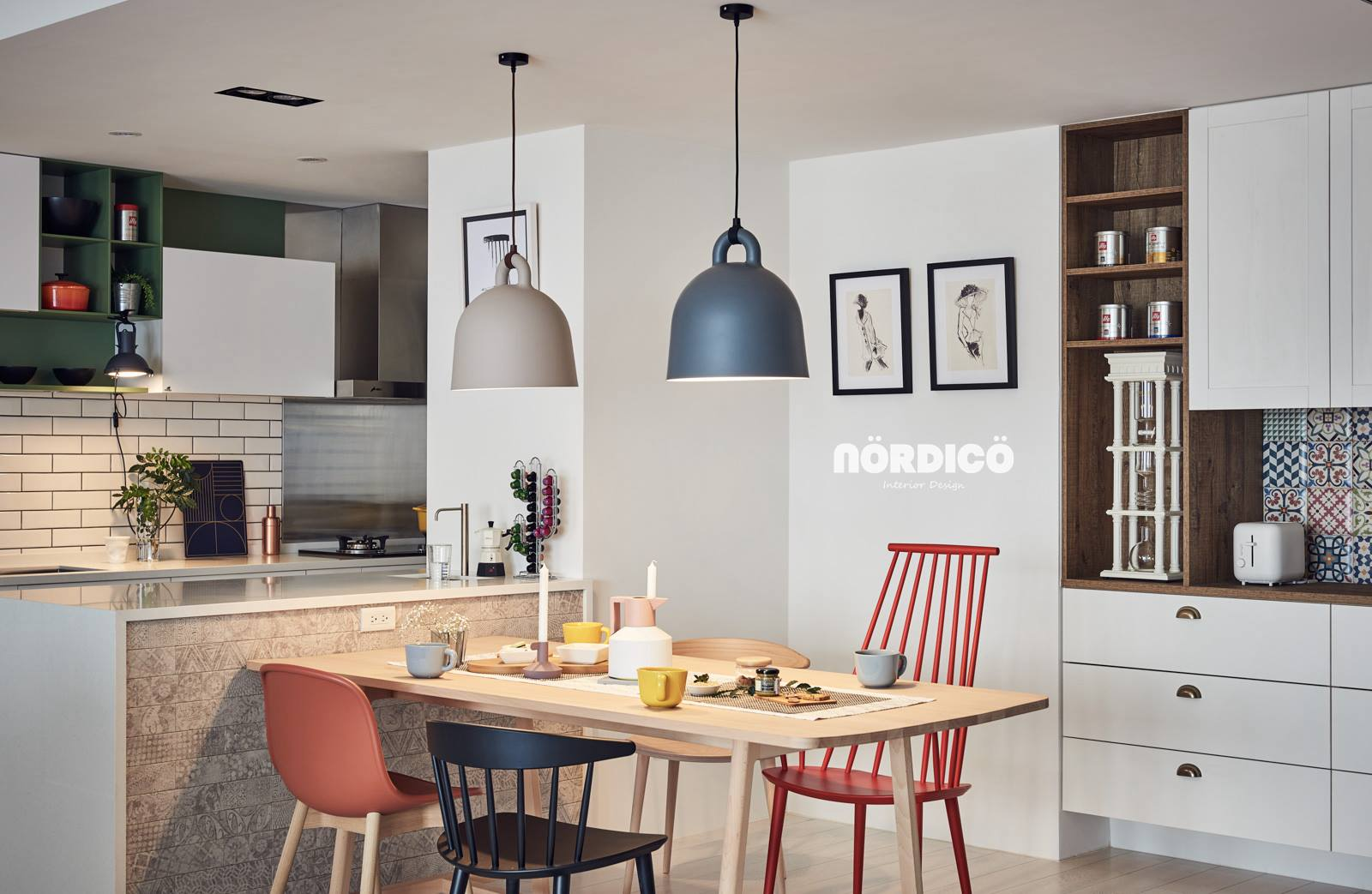 Playful Nordic Dining Arrangement With Mismatched Chairs - Nordic decor inspiration in two colorful homes