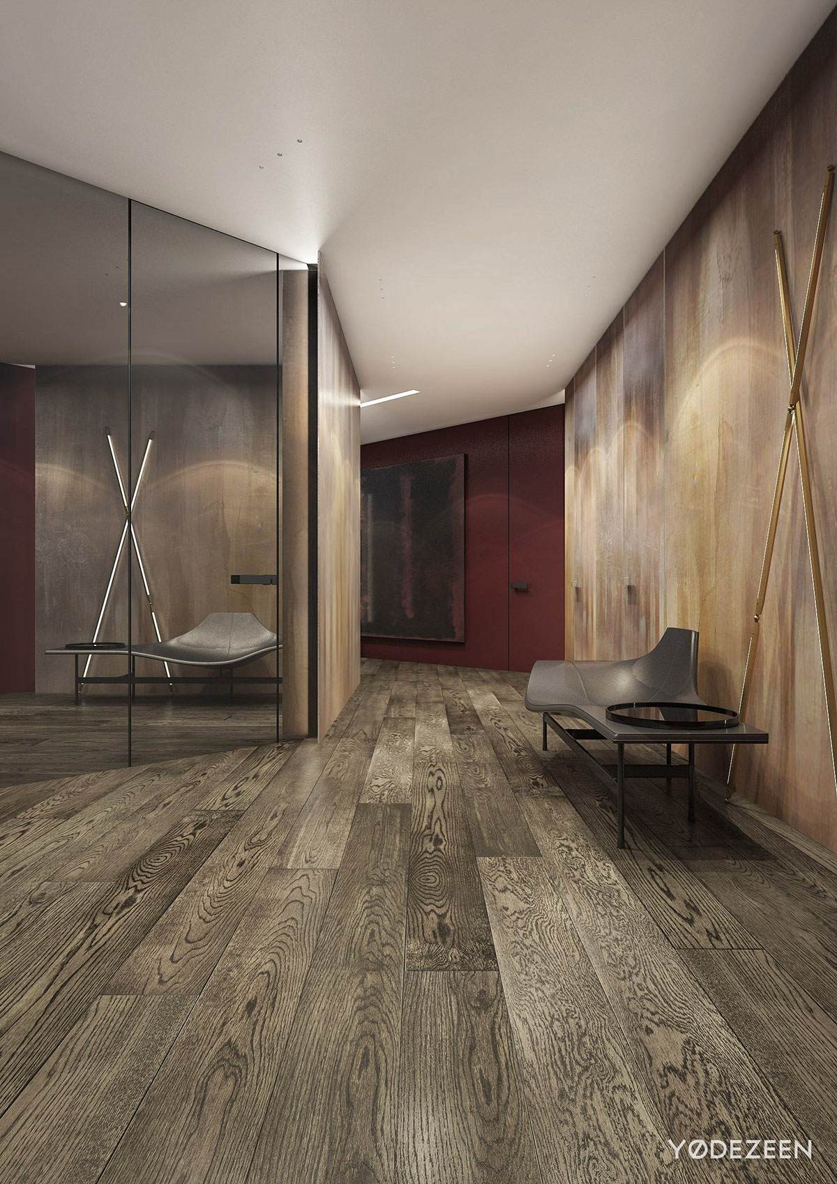 Private Wood Red And Black Hallway Design - A modern apartment with classical features