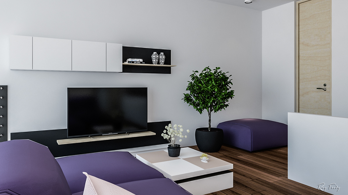 Purple black and white living room