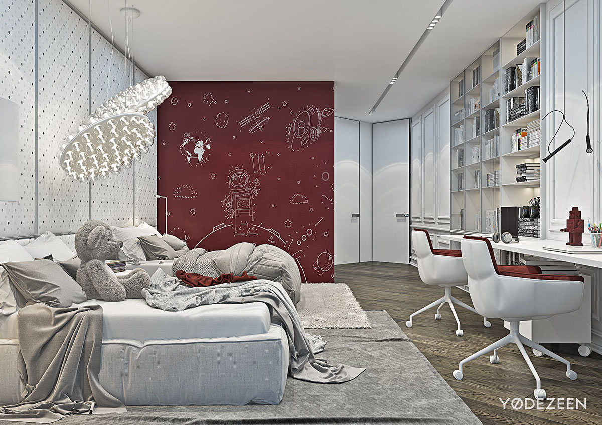 Red And Grey Bedroom For Two Kids - A modern apartment with classical features