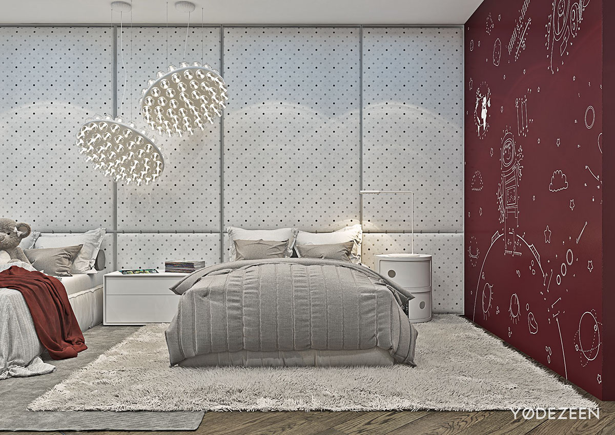 Red And Grey Kids Bedroom Inspiration - A modern apartment with classical features
