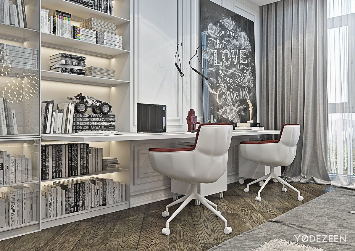 Red And Grey Kids Bedroom Office Design - A modern apartment with classical features