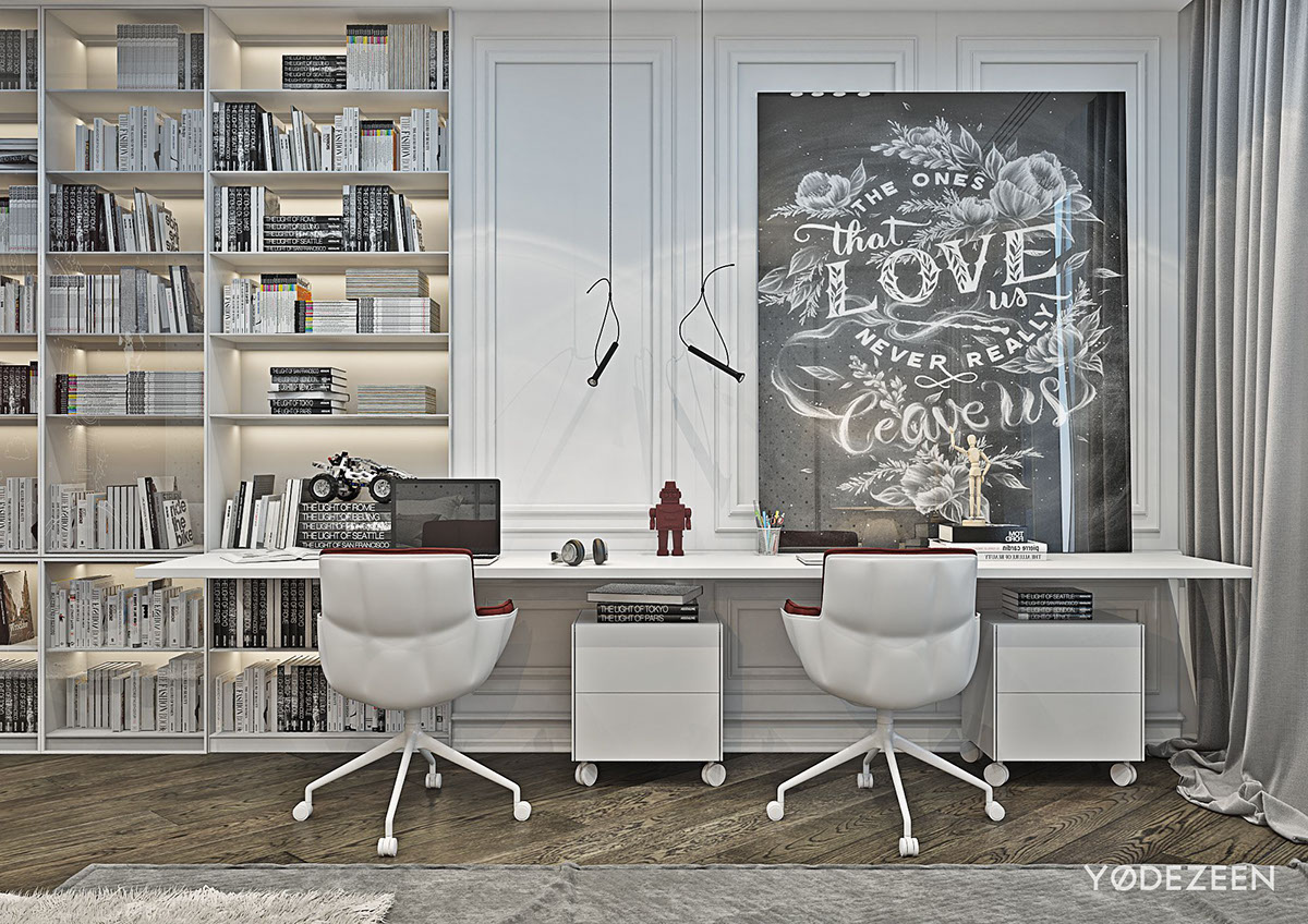 Red And Grey Kids Home Office - A modern apartment with classical features