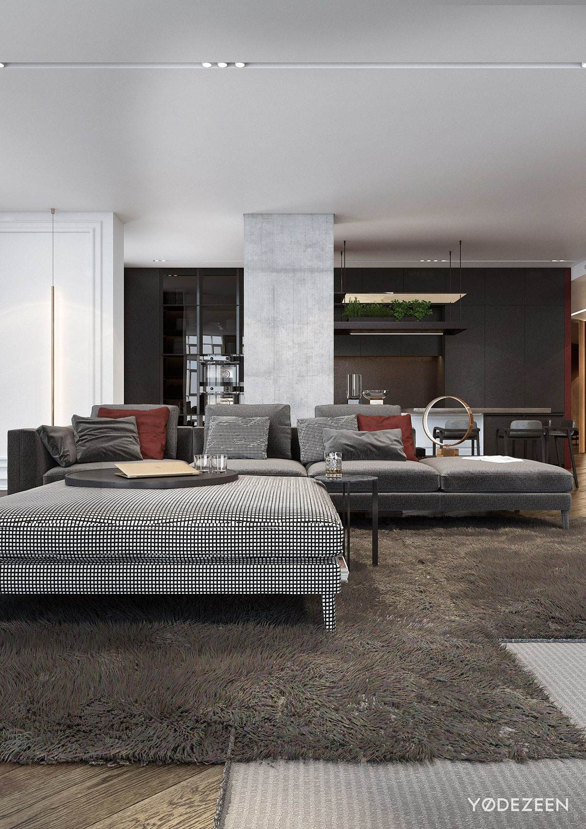 Rich Patterns In Modern Red And Greyscale Home - A modern apartment with classical features