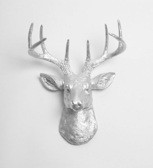 Faux deer head home decor - Silver stag head wall mount ...