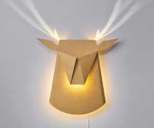 Faux Deer Head Wall Lighting: Ambient lighting with a twist. This cardboard deer looks like a doe when the light is turned off, but fantastic antlers are revealed with the flip of a switch. It's a cool illusion for any home. This would make a wonderful light for a nature-themed nursery!