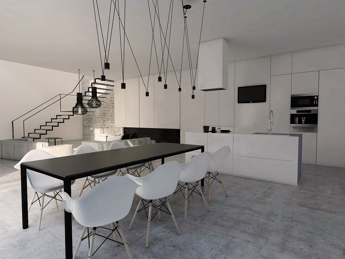 Stairway In White And Black Kitchen And Dining Room - 3 white themed homes with striking modern minimalist aesthetics