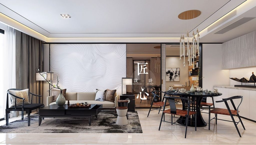 Two modern interiors inspired by traditional chinese decor for Modern chinese house design