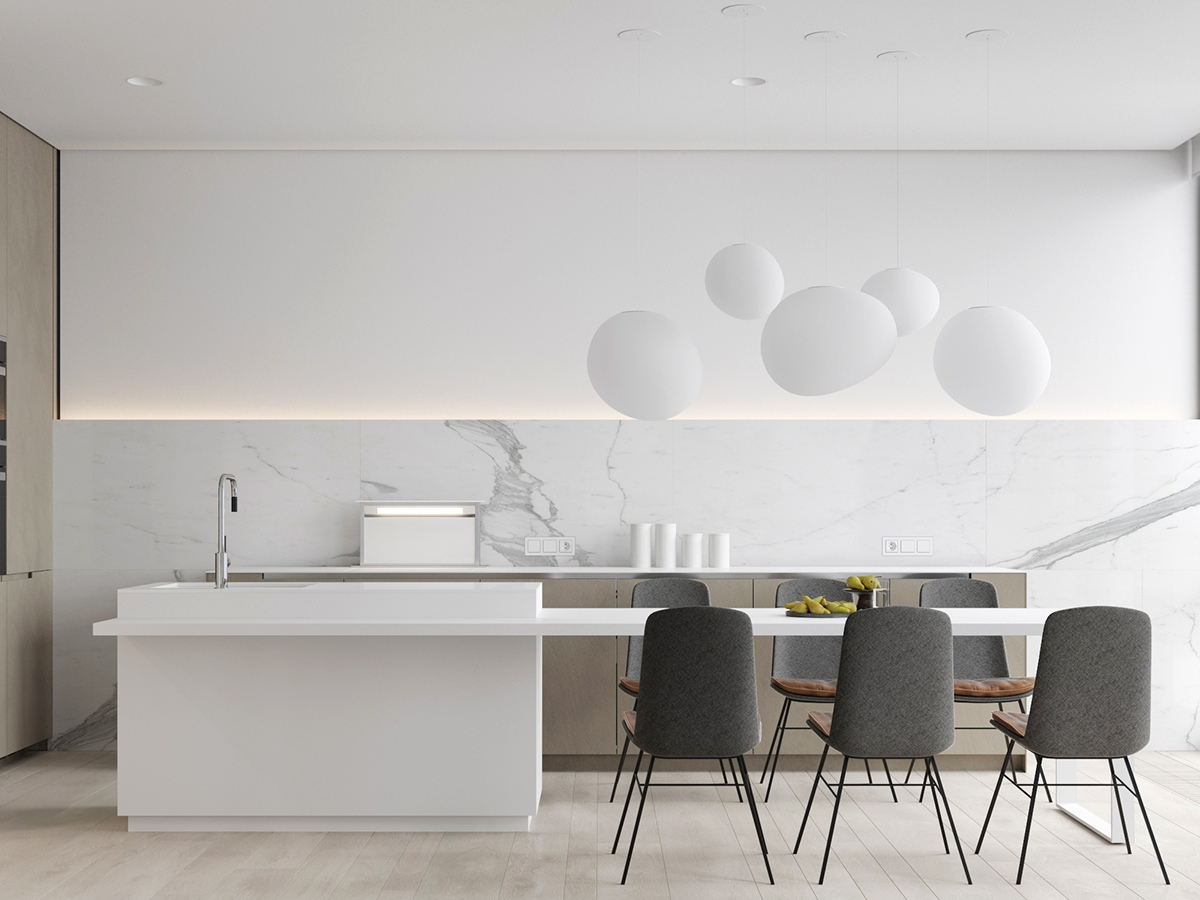 White Kitchen With Grey Table Chairs - 3 white themed homes with striking modern minimalist aesthetics