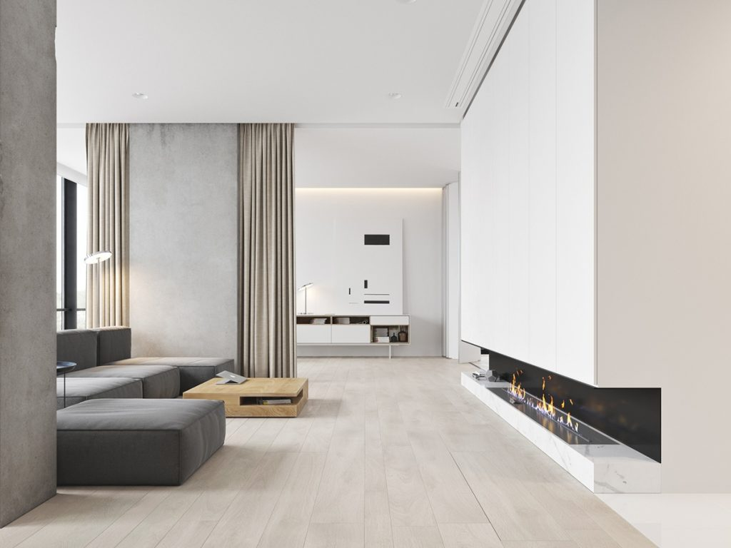 3 white themed homes with striking modern minimalist for White minimalist living room