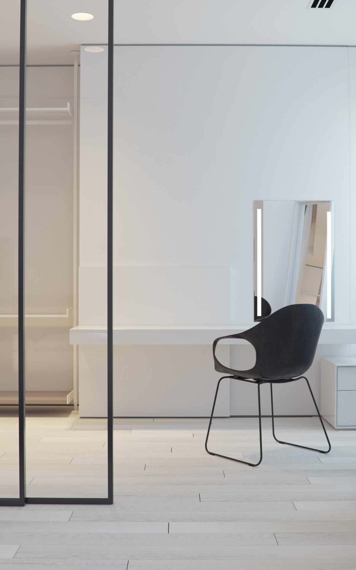 White Table And Black Chair In Walkin Closet - 3 white themed homes with striking modern minimalist aesthetics