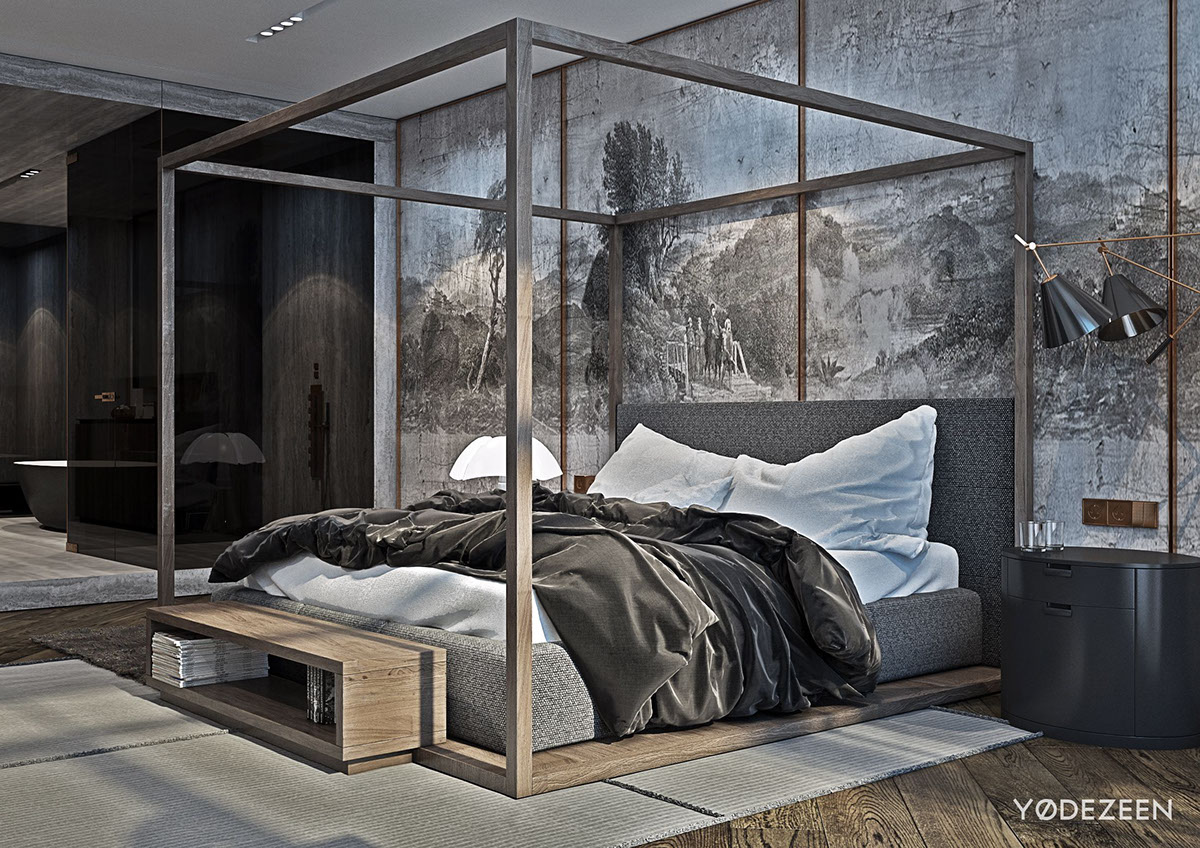 Woodcut Master Bedroom Wallpaper - A modern apartment with classical features