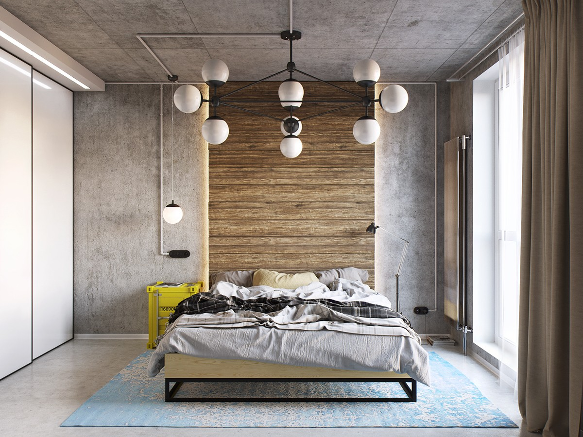 Yellow and blue industrial bedroom decor interior design for Industrial interior designs